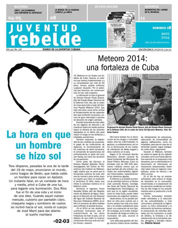 Periódico Juventud Rebelde, domingo 18 de mayo de 2014