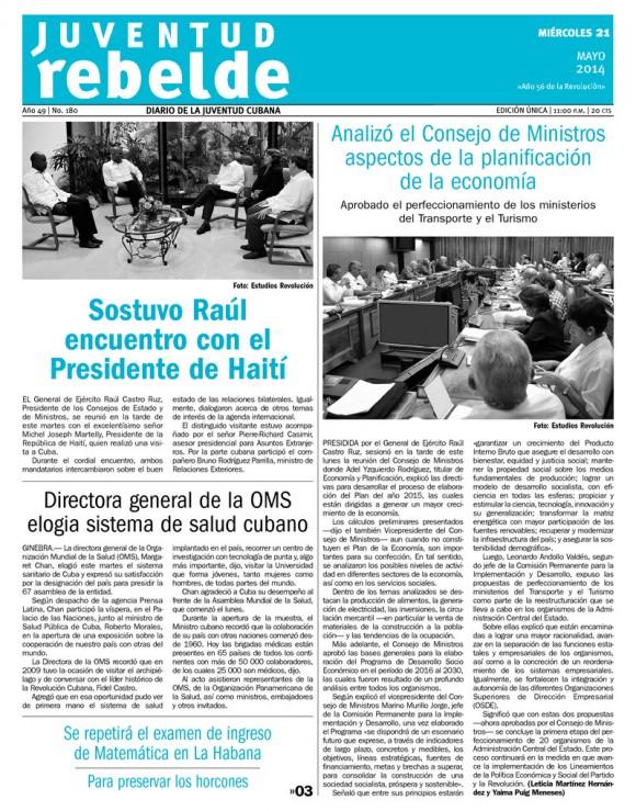 Periódico Juventud Rebelde, miércoles 21 de mayo de 2014