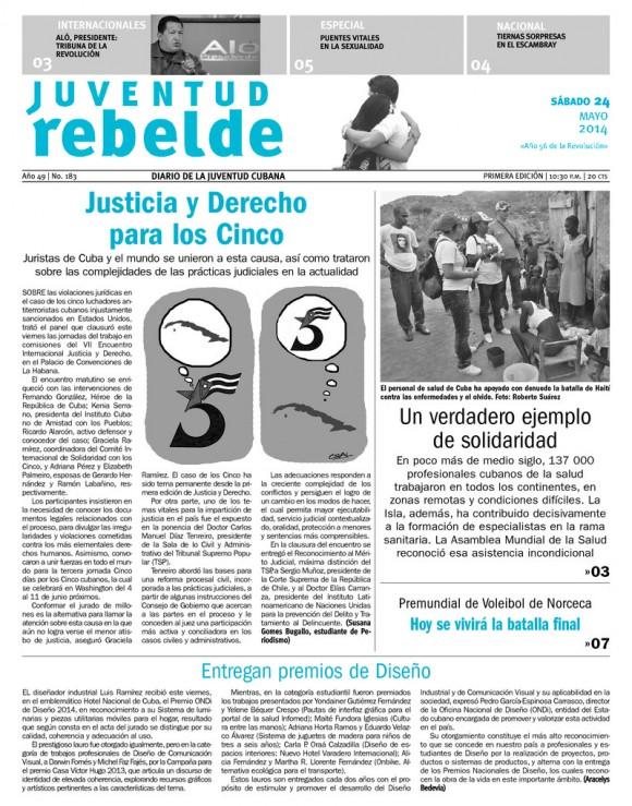 Periódico Juventud Rebelde, sábado 24 de mayo de 2014
