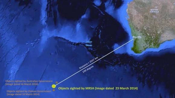 Imagen satelital delavión de Malaysia Airlines.