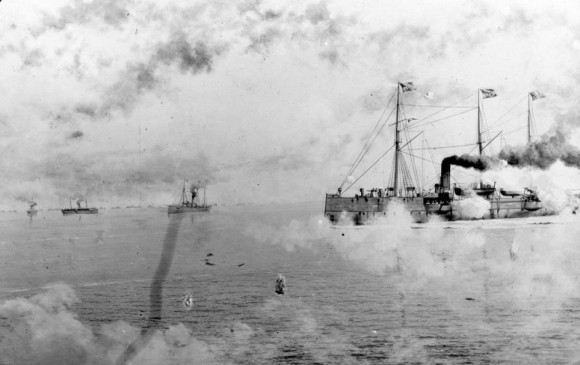 El USS Petrel fue también parte de la flota que tomó parte en la guerra El barco representado aquí en el año 1898 se describe como una cañonera