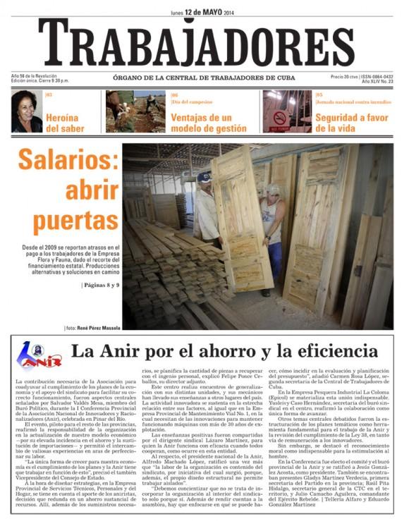 Periódico Trabajadores, lunes 12 de mayo de 2014