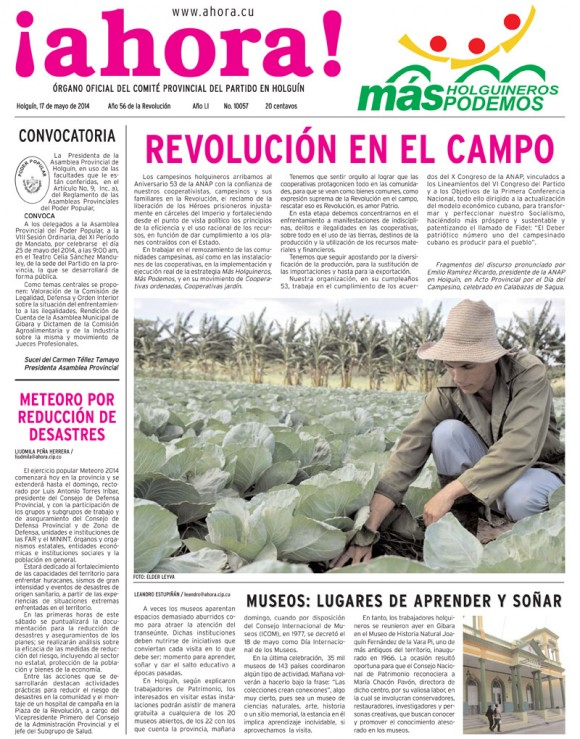 Periódico Ahora, provincia Holguin, sábado 17 de mayo de 2014