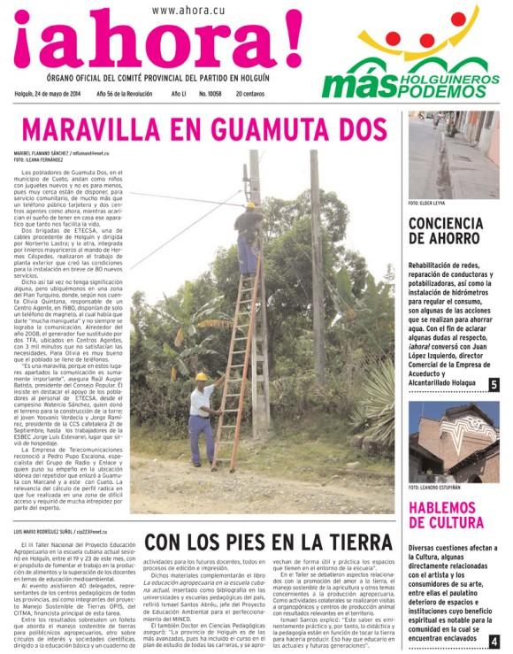 Periódico Ahora, provincia Holguín, sábado 24 de mayo de 2014
