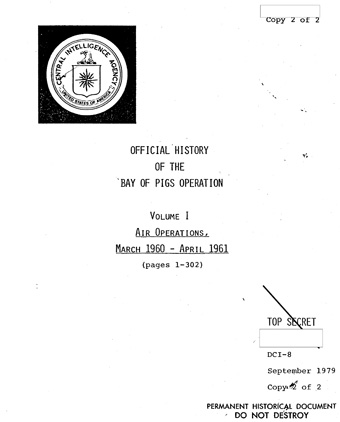 La portada del Informe Oficial de la CIA.