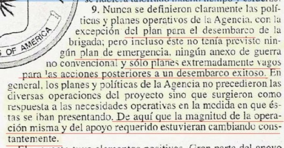 Conclusión Número 9 del Informe del Inspector General de la CIA sobre la Operación de Bahía de Cochinos.