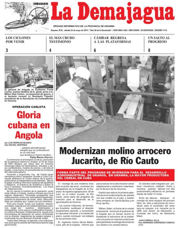 Periódico La Demajagua, provincia Granma, sábado 24 de mayo de 2014