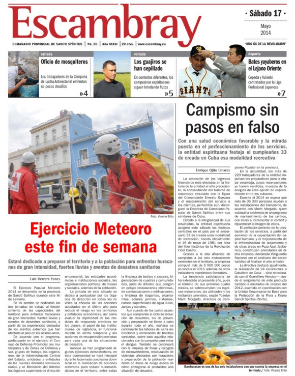 Periódico Escabray, provincia Sancti Spiritus, sábado 17 de mayo de 2014