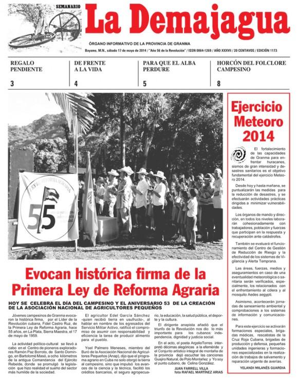 Periódico La Demajagua de la provincia Granma, sábado, 17 de mayo de 2014