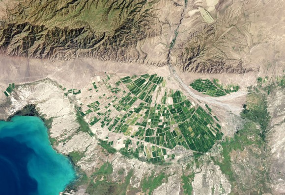 La operativa Land Imager ( OLI ) el Landsat 8 capturó esta vista de un abanico aluvial en la provincia de Almaty de Kazajistán el 9 de septiembre de 2013. El río Tente fluye por un canal estrecho en las estribaciones de la cordillera Dzungarian Alatau . Cuando el Tente emerge de las colinas cerca de Lake Alakol , se extiende y se convierte en una corriente trenzada. El movimiento del canal a través del tiempo ha dejado un gran ventilador que está a unos 20 km ( 12 millas ) de ancho en su punto más ancho. ( Imagen del Observatorio Terrestre de la NASA por Jesse Allen y Robert Simmon , usando datos de Landsat de los EE.UU. Geological Survey . Leyenda por Adam Voiland )