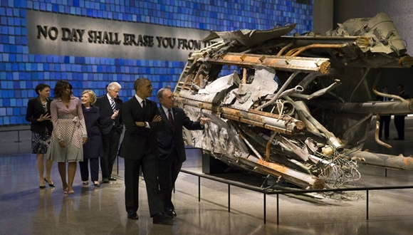 The Obamas, Bloomberg and the Clintons visit the National September 11 Memorial Museum in New York