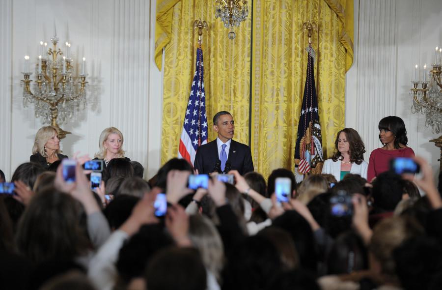 Barack Obama habla durante una recepción en la Casa Blanca, 2013. Foto: Getty