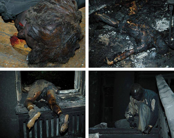 Imágenes de los ciudadanos quemados vivos en el interior del edificio sindical de Odessa. Bloquearon las puertas del edificio y le prendieron fuego.