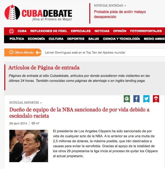 Las páginas de aterrizaje de Cubadebate. La noticia por la que entran de manera preferencial los usuarios, las marcamos con el símbolo del paracaídas.