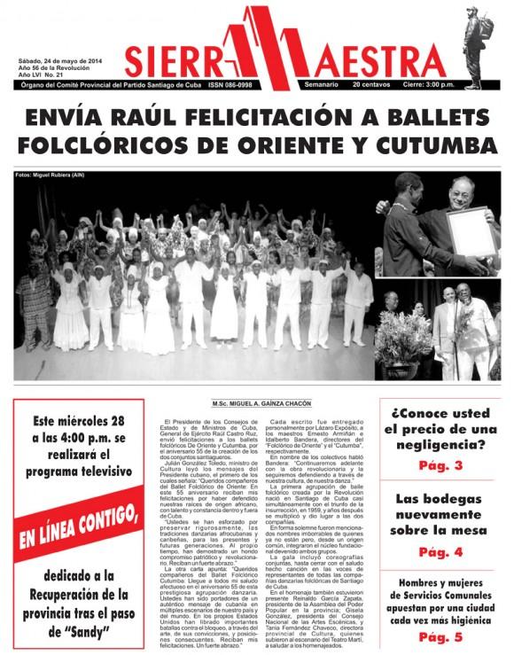 Periódico Sierra Maestra, provincia Santiago de Cuba, sábado 24 de mayo de 2014