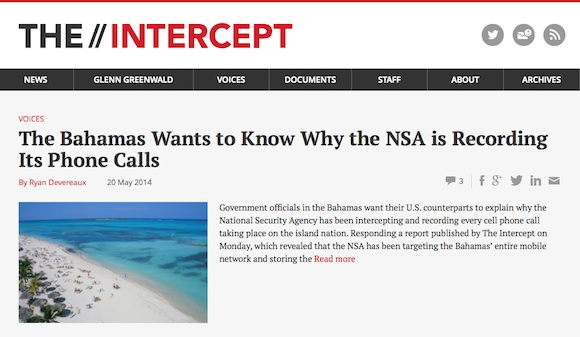 the intercept espia la NSA a Las Bahams