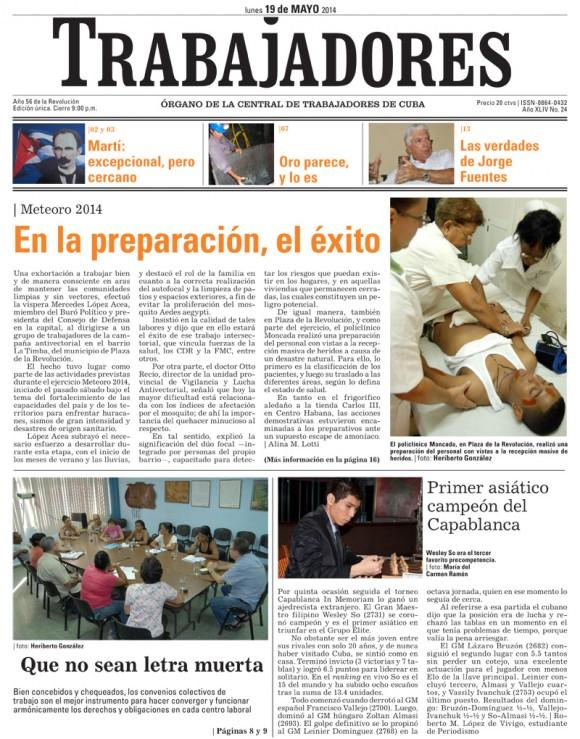 Periódico Trabajadores, lunes 19 de mayo de 2014