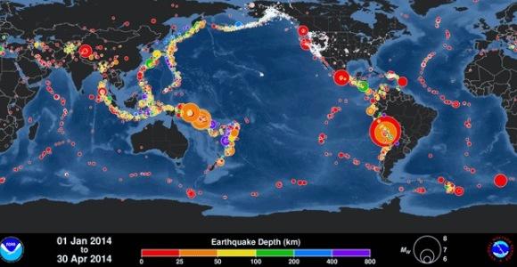 Abril de 2014 inscribió récord mundial de terremotos