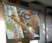 Fue presentado en la inauguración de la feria un audiovisual producido por Artex, que rinde también tributo al Premio Nacional de Artes Plásticas. Foto. Marianela Dufflar./Cubadebate