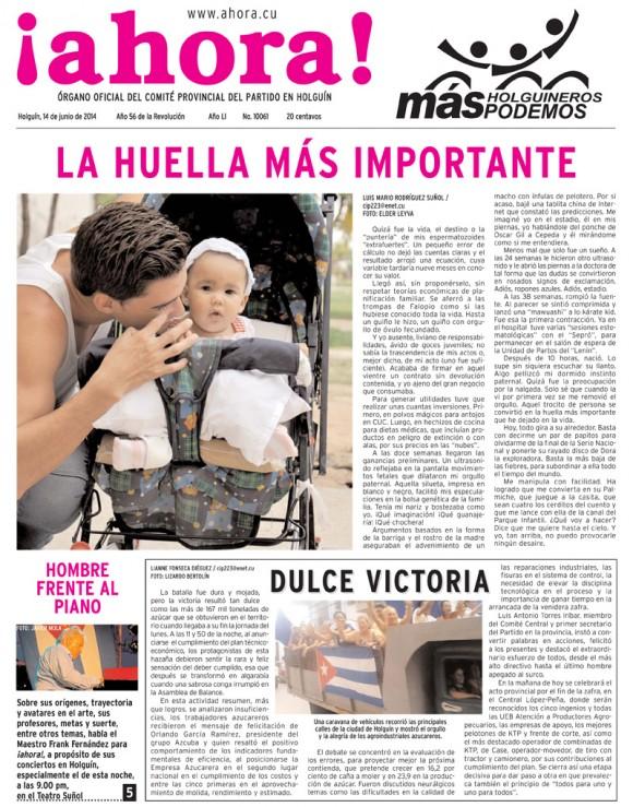 Periódico Ahora, provincia Holguín, sábado 14 de junio de 2014