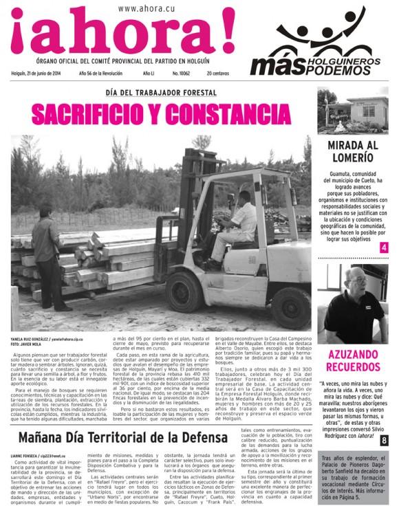 Periódico Ahora, provincia Holguín, sábado 21 de junio de 2014