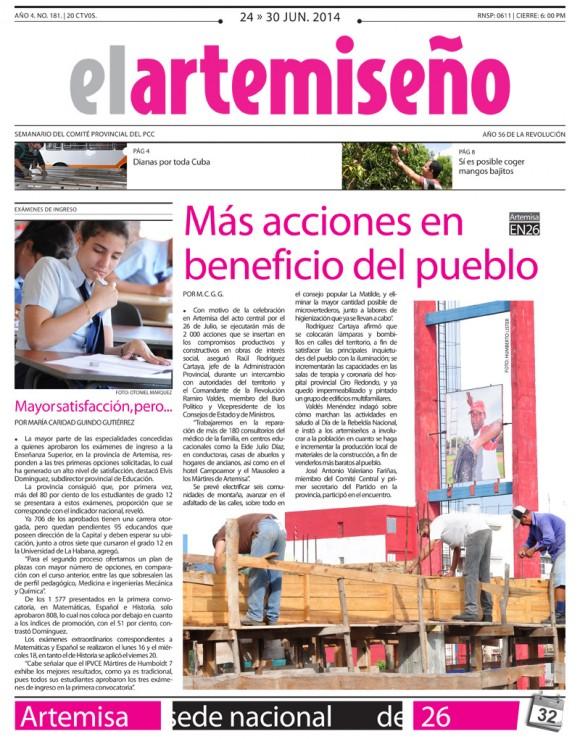El Artemiseño, provincia de Artemisa, martes 24 de junio de 2014