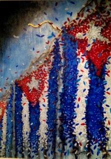 """Como parte del programa de la XI Bienal de La Habana, sus obras fueron expuestas en parque Morro-Cabaña y de conjunto con raperos, el dúo Buena Fe, el trovador Vicente Feliú y Juan Formel y los Van-Van, organizó, en el cine-teatro """"Acapulco"""", la acción-concierto """"Créeme"""". En la foto Vicente Feliú canta y Michel Mirabal pinta."""