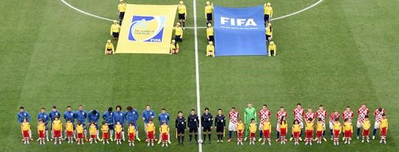 Ceremonia de inicio del juego Brasil-Croacia. Foto: AFP