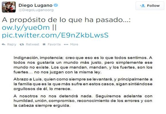 Diego Lugano apoya a Luis Suárez en Twitter