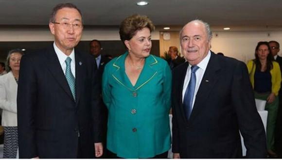 Dilma, con Ban Ki Moon y Sep Blatter