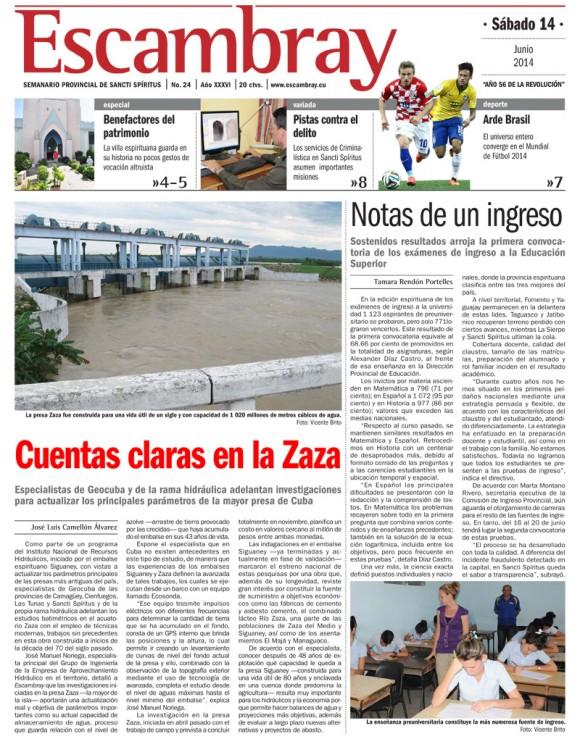 Periódico Escambray, provincia Sancti Spíritus, sábado 14 de junio de 2014