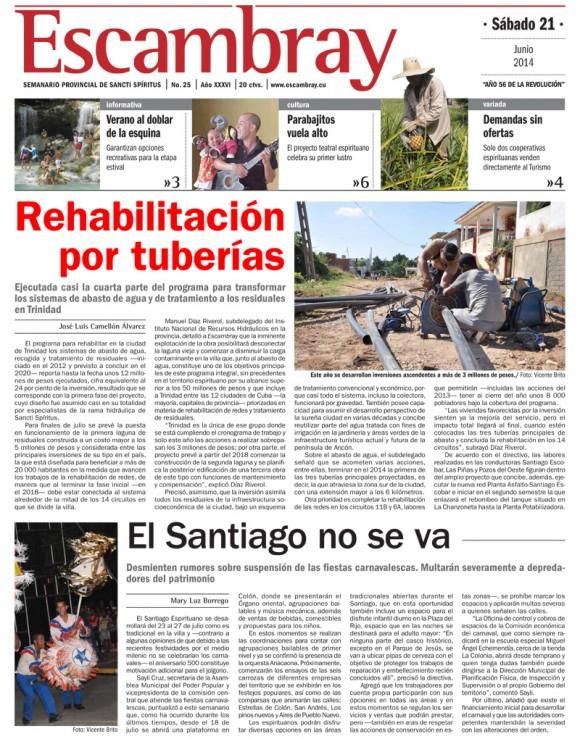 Periódico Escambray, provincia Sancti Spíritus, sábado 21 de junio de 2014