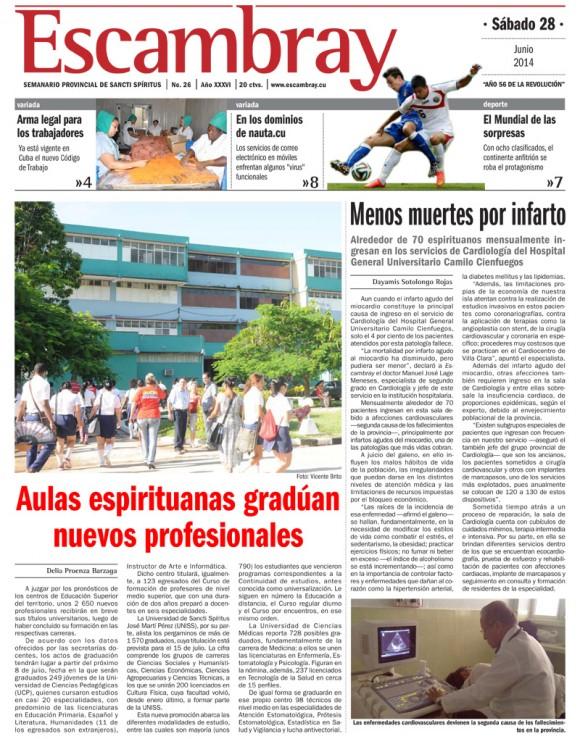 Periódico Escambray, provincia Sancti Spíritus, sábado 28 de junio de 2014