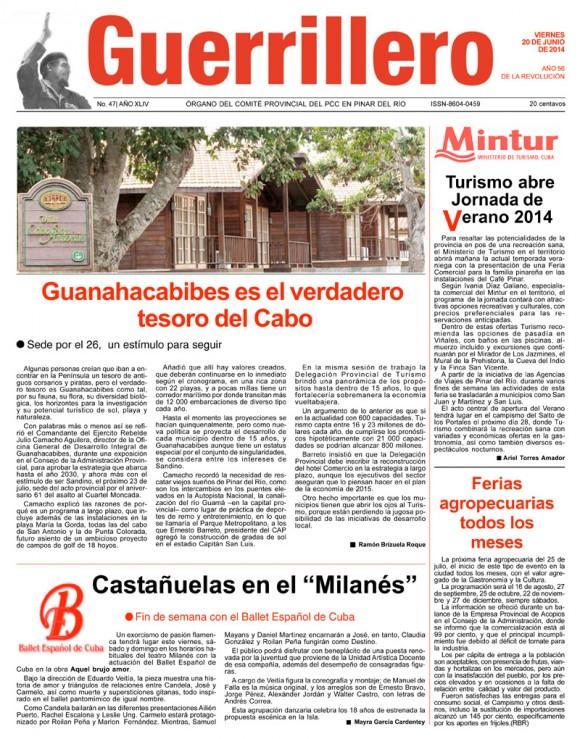 Periódico Guerrillero, provincia Pinar del Río, viernes 20 de junio de 2014