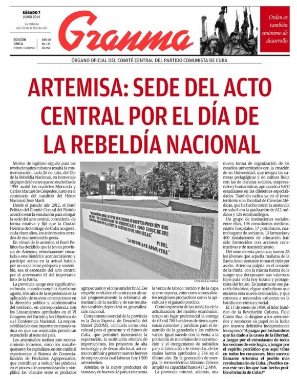Periódico Granma, sábado 7 de junio de 2014