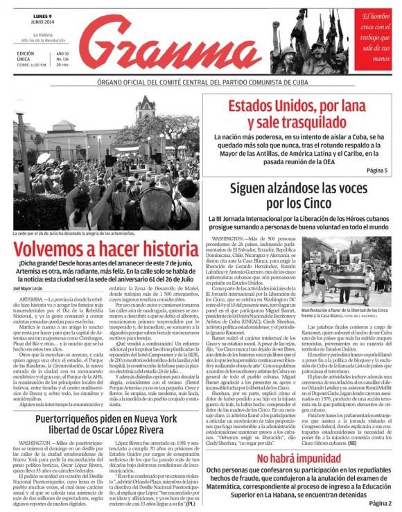 Periódico Granma, lunes 9 de junio de 2014