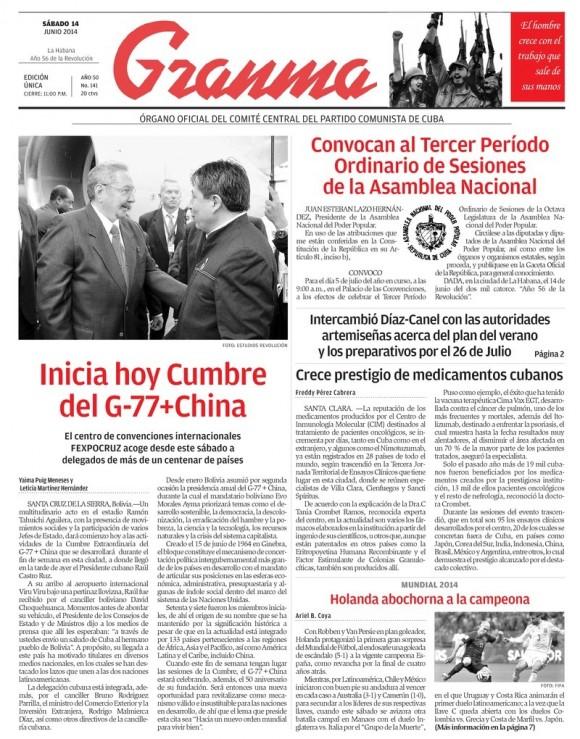 Periódico Granma, sábado 14 de junio de 2014