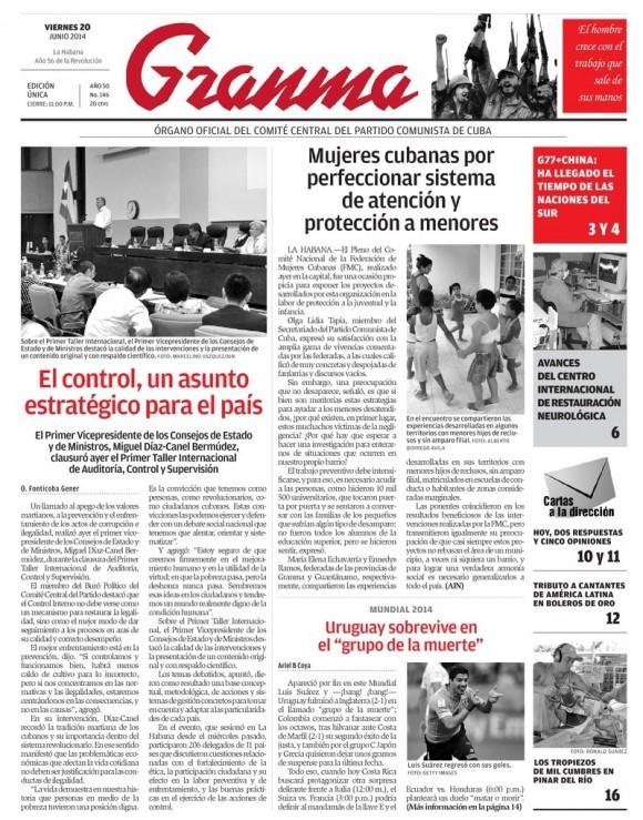 Periódico Granma, viernes 13 de junio de 2014