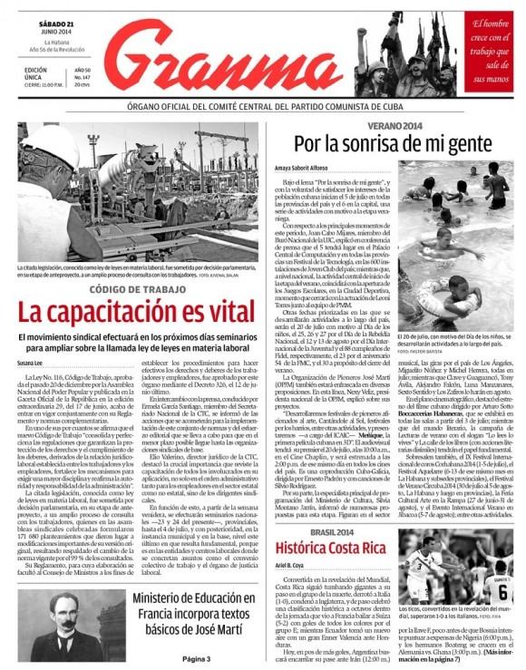 Periódico Granma, sábado 21 de junio de 2014