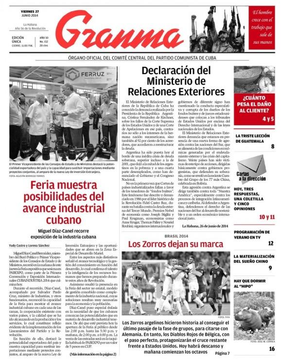 Periódico Granma, viernes 27 de junio de 2014