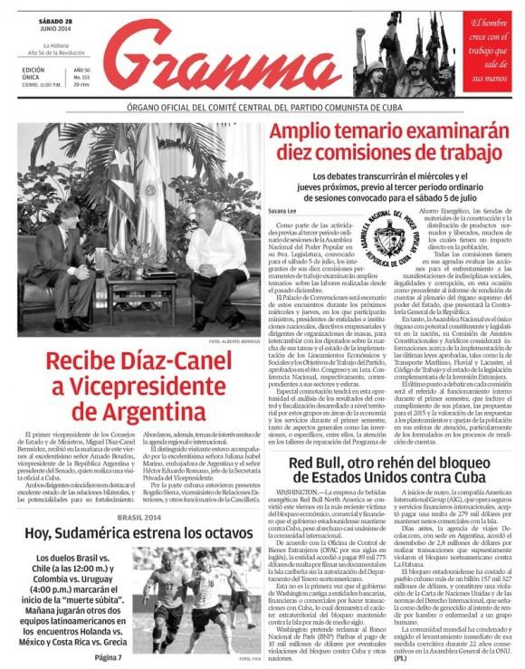 Periódico Granma, sábado 28 de junio de 2014