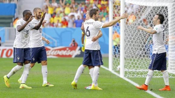 Los jugadores de Francia celebrando un gol de Griezmann.