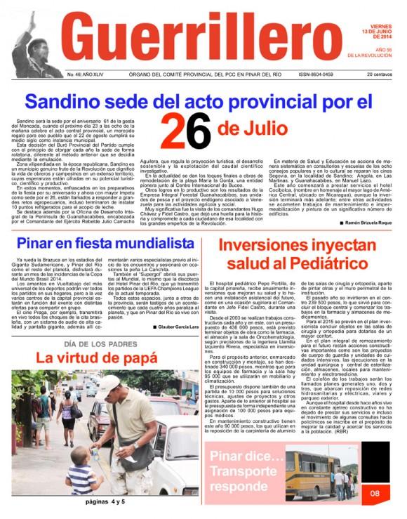 Periódico Guerrillero, provincia Pinar del Río, viernes 13 de junio de 2014
