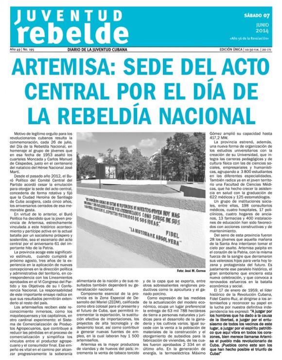 Periódico Juventud Rebelde, sábado 7 de junio de 2014