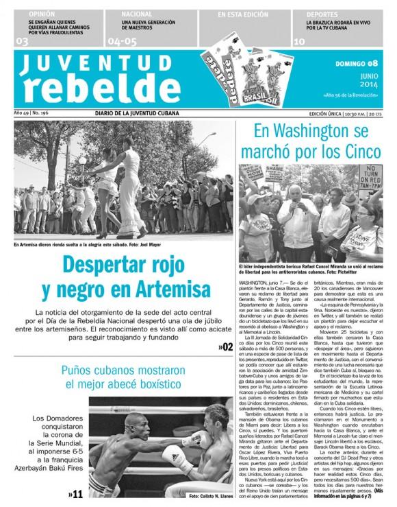 Periódico Juventud Rebelde, domingo 8 de junio de 2014