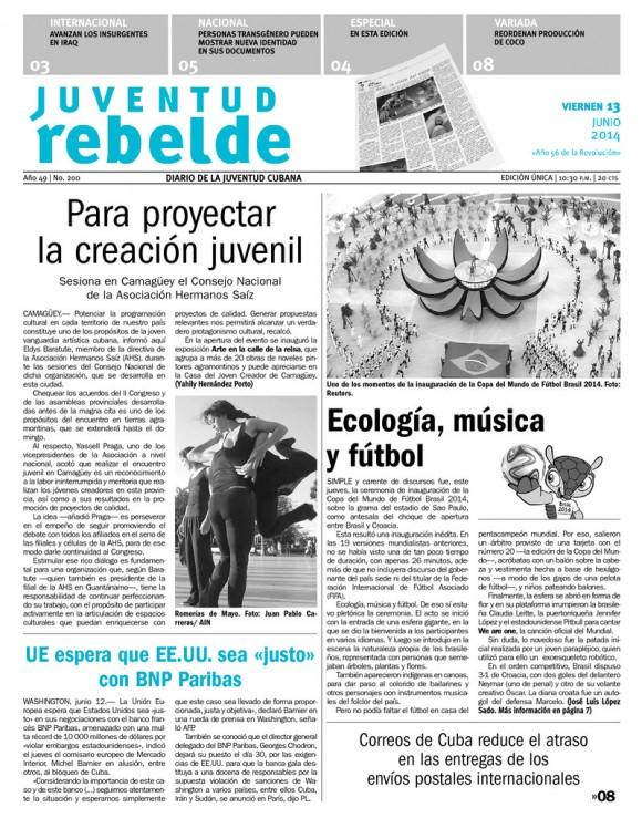Periódico Juventud Rebelde, viernes 13 de junio de 2014