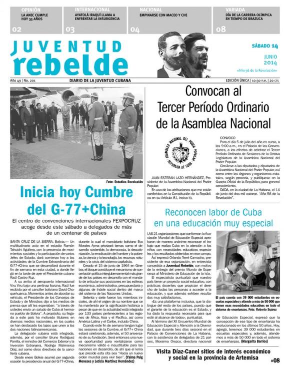 Periódico Juventud Rebelde, sábado 14 de junio de 2014