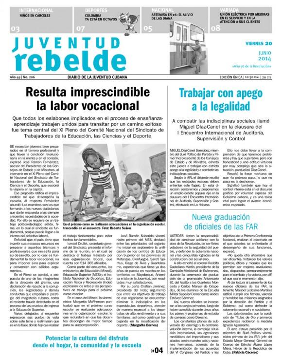 Periódico Juventud Rebelde, viernes 20 de junio de 2014