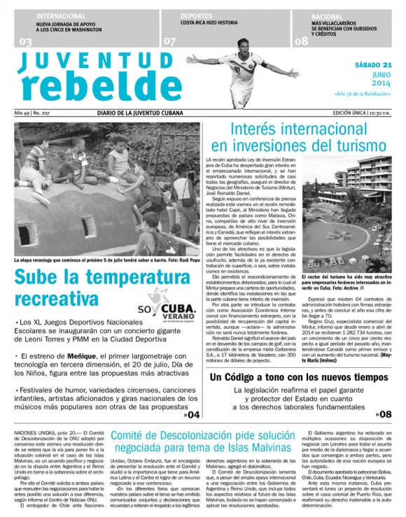 Periódico Juventud Rebelde, sábado 21 de junio de 2014
