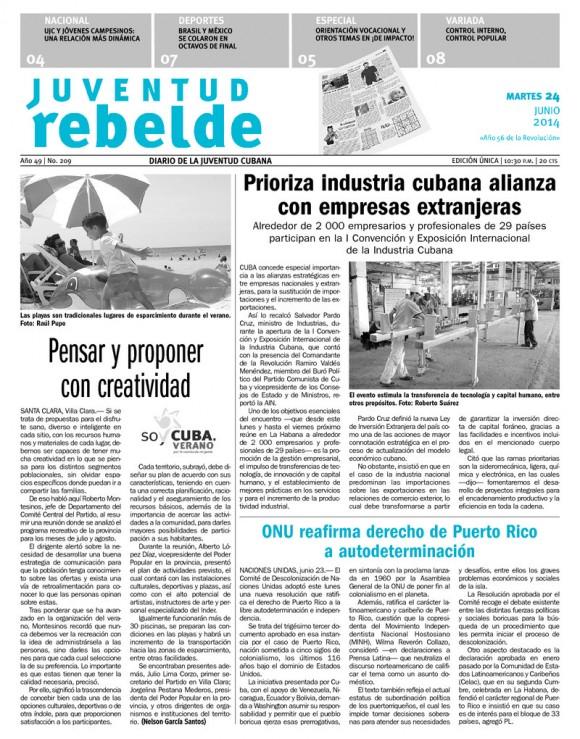 Periódico Juventud Rebelde, martes 24 de junio de 2014